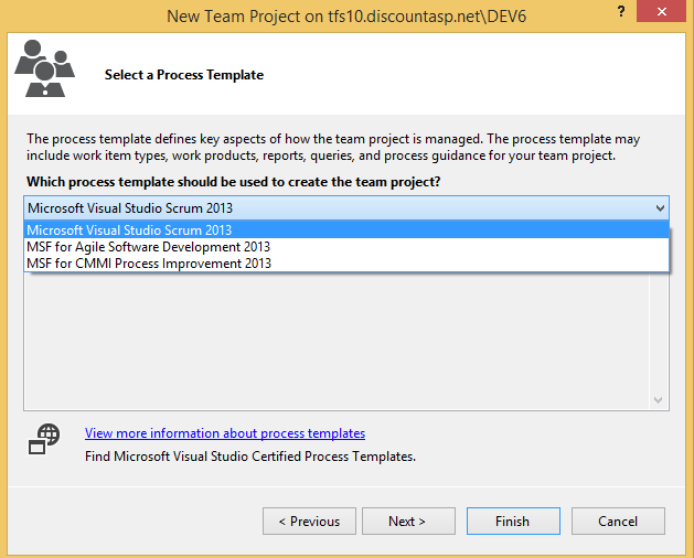 Getting started with team foundation server 2013 tfs now choose the revision control provider for the new team project you can choose team foundation server version control or git maxwellsz