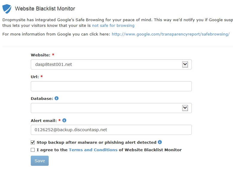 Google Website blacklist monitor